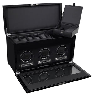WOLF Savoy (454770) Black Triple Watch Winder with Storage open view with lid and cover open. Elite Watch Winders and Safes (www.elitesafes.co.uk)