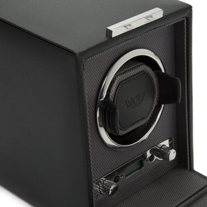 WOLF Viceroy (456002) Black Single Winder detail view. Elite Watch Winders and Safes (www.elitesafes.co.uk)