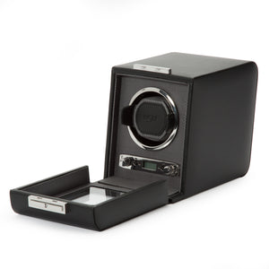WOLF Viceroy (456002) Black Single Winder side view with cover open. Elite Watch Winders and Safes (www.elitesafes.co.uk)