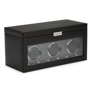 WOLF Viceroy (456302) Black Triple Winder side view. Elite Watch Winders and Safes (www.elitesafes.co.uk)