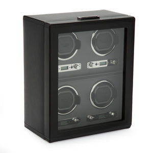 WOLF Viceroy (456702) Black Quad Winder side view. Elite Watch Winders and Safes (www.elitesafes.co.uk)