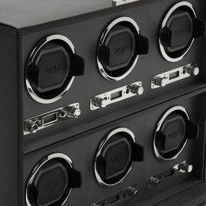 WOLF Viceroy (456802) Black 6-Piece Winder detail view. Elite Watch Winders and Safes (www.elitesafes.co.uk)