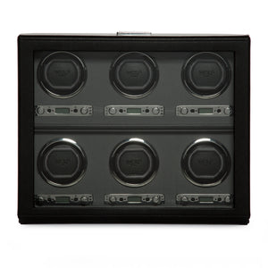 WOLF Viceroy (456802) Black 6-Piece Winder front view. Elite Watch Winders and Safes (www.elitesafes.co.uk)