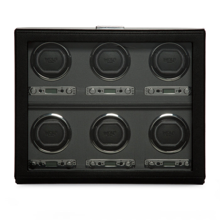 WOLF Viceroy Black 6 Piece Watch Winder