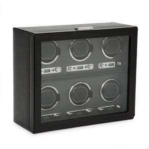 WOLF Viceroy (456802) Black 6-Piece Winder side view. Elite Watch Winders and Safes (www.elitesafes.co.uk)