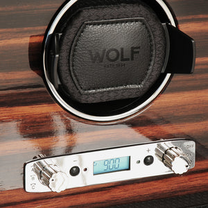 WOLF Roadster (457056) Black Single Watch Winder front view close up - Elite Watch Winders and Safes (www.elitesafes.co.uk)