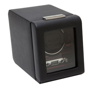 WOLF Roadster (457056) Black Single Watch Winder  front view - Elite Watch Winders and Safes (www.elitesafes.co.uk)
