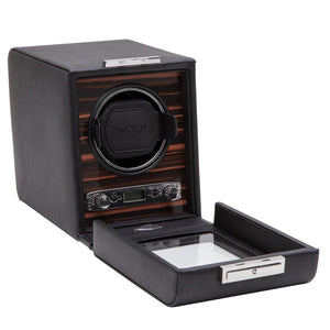 WOLF Roadster (457056) Black Single Watch Winder front view with cover open - Elite Watch Winders and Safes (www.elitesafes.co.uk)