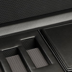 WOLF Roadster (457356) Black Triple Watch Winder with Storage close up - Elite Watch Winders and Safes (www.elitesafes.co.uk)