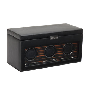 WOLF Roadster (457356) Black Triple Watch Winder with Storage front view - Elite Watch Winders and Safes (www.elitesafes.co.uk)