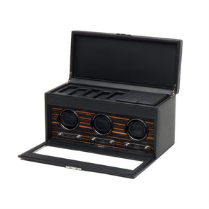 WOLF Roadster (457356) Black Triple Watch Winder with Storage front view, with lid and cover open - Elite Watch Winders and Safes (www.elitesafes.co.uk)