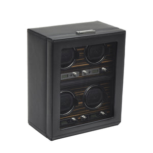 WOLF Roadster (459156) Black 4 Piece Watch Winder side view - Elite Watch Winders and Safes (www.elitesafes.co.uk)