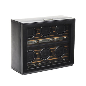 WOLF Roadster (459256) Black 6 Piece Watch Winder front view - Elite Watch Winders and Safes (www.elitesafes.co.uk)