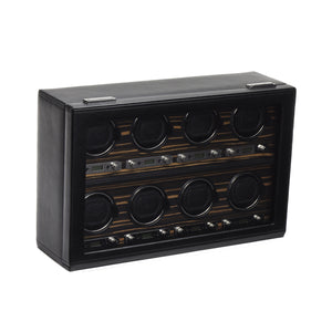 WOLF Roadster (459356) Black Eight Watch Winder front view - Elite Watch Winders and Safes (www.elitesafes.co.uk)