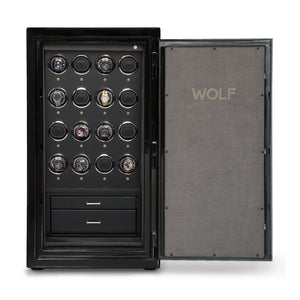 WOLF Atlas (491664) 16 Piece Watch Winder Safe in Onyx open door view with watches - watches for demonstration only - Elite Watch Winders and Safes (www.elitesafes.co.uk)