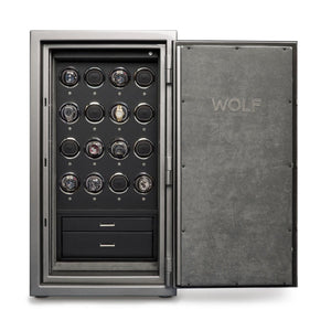 WOLF Atlas (491665) 16 Piece Watch Winder Safe in Titanium open door view with watches - watches for demonstration only - Elite Watch Winders and Safes (www.elitesafes.co.uk)