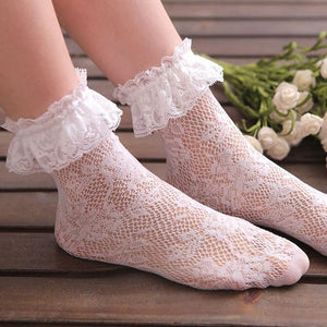 Floral Short Ankle Fishnet Socks