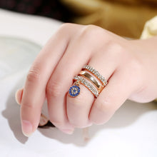 Load image into Gallery viewer, Blue Round Full Crystal Pendant Rings