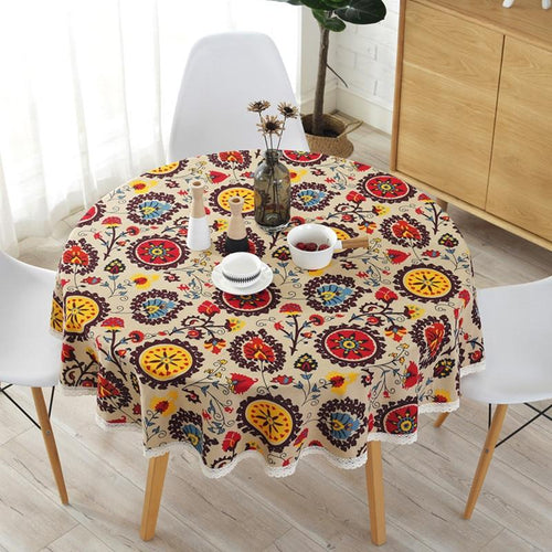 national wind round lace tablecloth