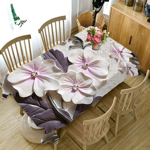 3D Embossed Flower Tablecloth