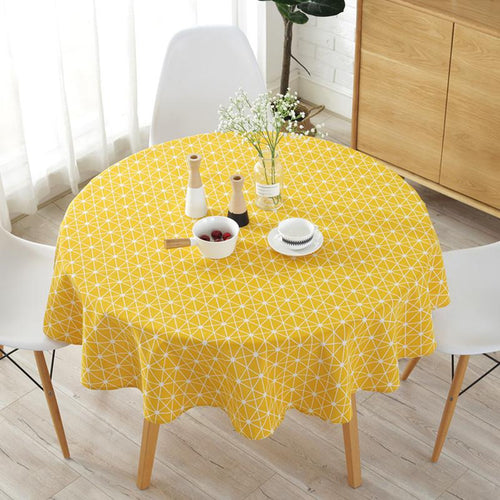 Cotton and Linen Round Tablecloth