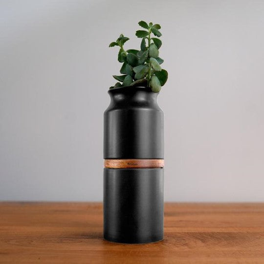 The Vega Vase in Black with Dark Wood