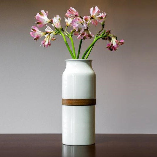The Vega Vase in White with Dark Wood