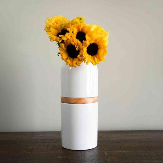 The Vega Vase in White with Light Wood