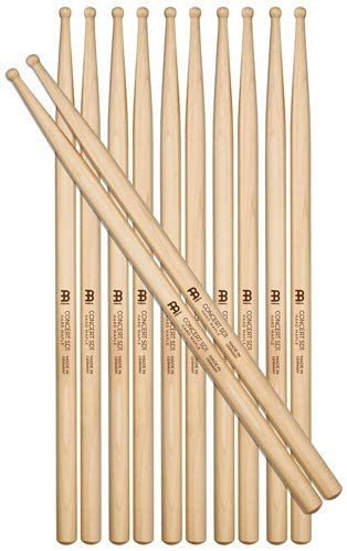 Meinl Stick & Brush Drumsticks, Concert SD1 Half Brick (6 Pairs, 5 Plus 1 FREE) - Hard Maple with Round Shape Wood Tip