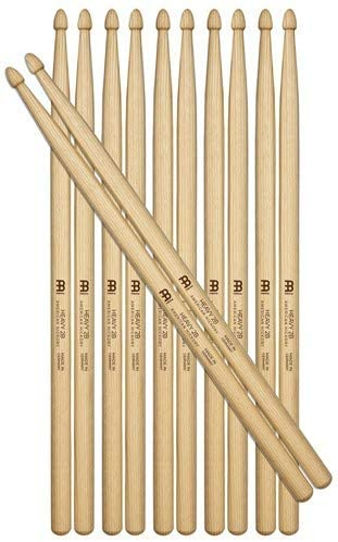 Meinl Stick & Brush Drumsticks, Heavy 2B Half Brick (6 Pairs, 5 Plus 1 FREE) - American Hickory with Acorn Shape Wood Tip