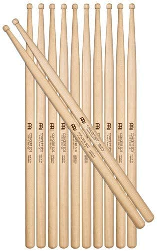 Meinl Stick & Brush Drumsticks, Concert SD2 Half Brick (6 Pairs, 5 Plus 1 FREE) - Hard Maple with Round Shape Wood Tip