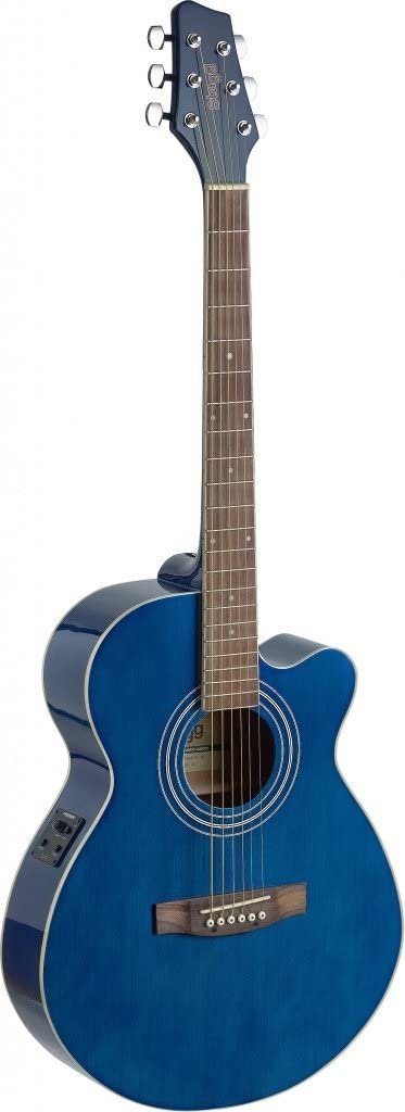 Stagg SA40MJCFI-TB Cutaway Acoustic-Electric Mini Jumbo Concert Guitar - Transparent Blue