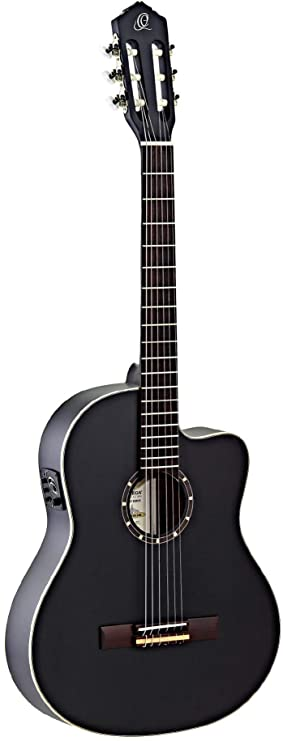 Ortega Guitars Family Series 6 String Acoustic-Electric Guitar - Satin Black - Right