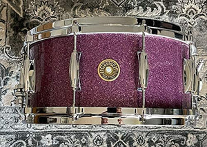 "Gretsch 6.5"" x 14"" USA Maple Nitron Wrap and Micro Sensitive Throw-Off 10 Lug Purple Glass"