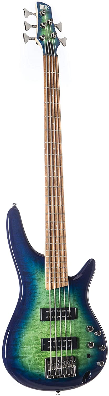 Ibanez SR405EQM Quilted Maple 5-String Electric Bass Guitar - Surreal Blue Burst Gloss