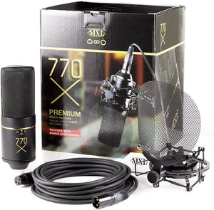 MXL Mics Multi-Pattern Condenser Microphone, XLR Connector, Black & Gold (770X)