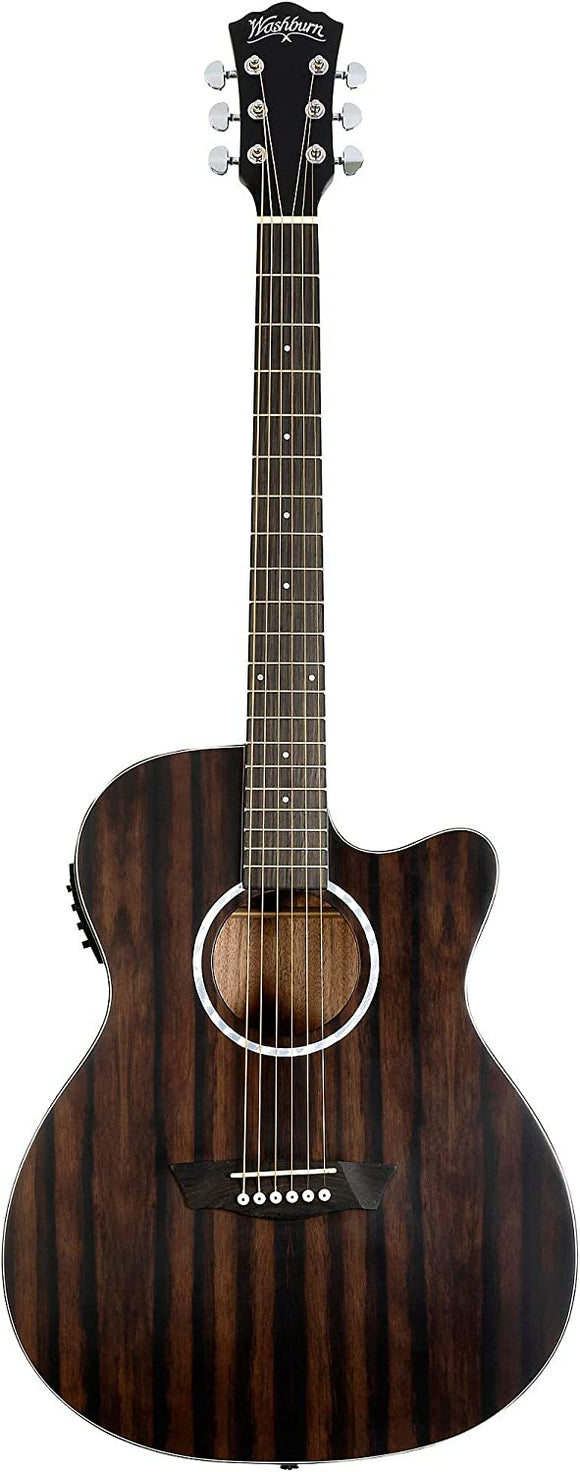 Washburn Deep Forest Ebony ACE Auditorium Cutaway Acoustic-Electric Guitar