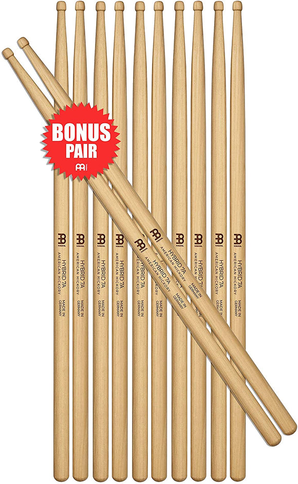 Meinl Stick & Brush Drumsticks, Hybrid 7A Half Brick (6 Pairs, 5 Plus 1 FREE) - American Hickory with Acorn/Barrel Shape Wood Tip