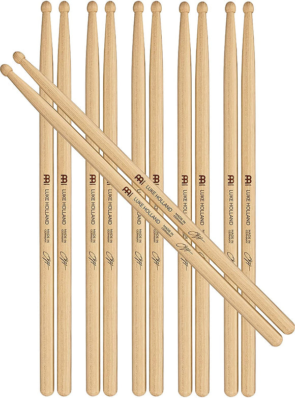 Meinl Stick & Brush Drumsticks, Luke Holland Signature Half Brick (6 Pairs, 5 Plus 1 FREE) — American Hickory with Round Shape Wood Tip