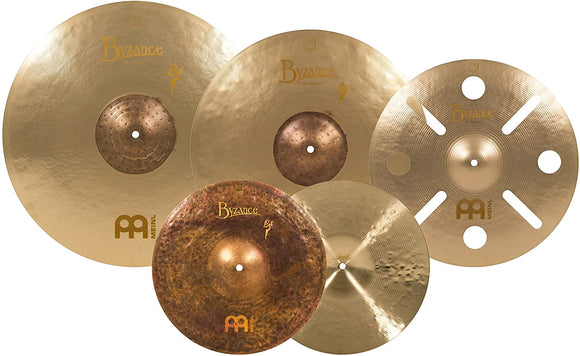 Meinl Cymbals (BV-480+B16TRC) Byzance Vintage Series Benny Greb Sand Cymbal Box Set Pack with FREE 16