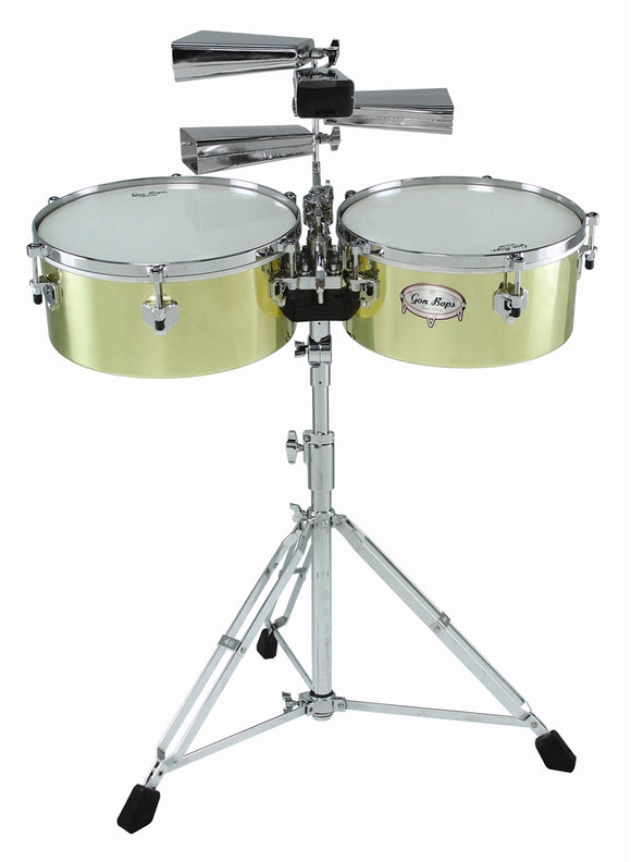Gon Bops Alex Acuna Signature Brass Timbales with 9600 Stand