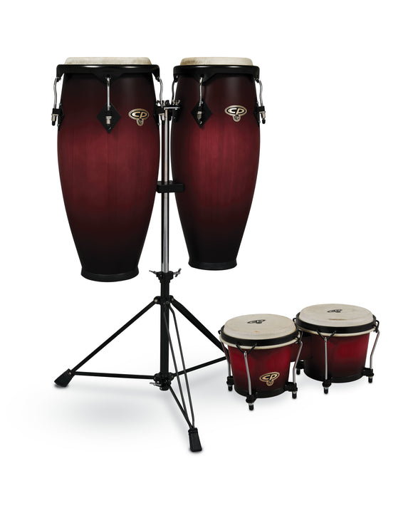 CP by LP 9-inch and 10-inch Conga Set with Double Conga Stand and Free Bongos - Cherry Burst  CP626-CBB