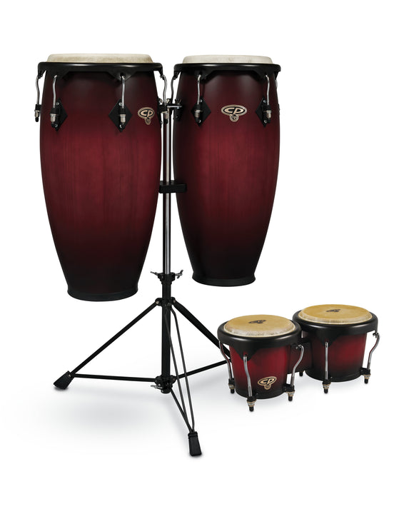 CP by LP 11-inch and 11 3/4-inch Conga Set with Double Conga Stand and Free Bongos - Cherry Burst  CP656-CBB