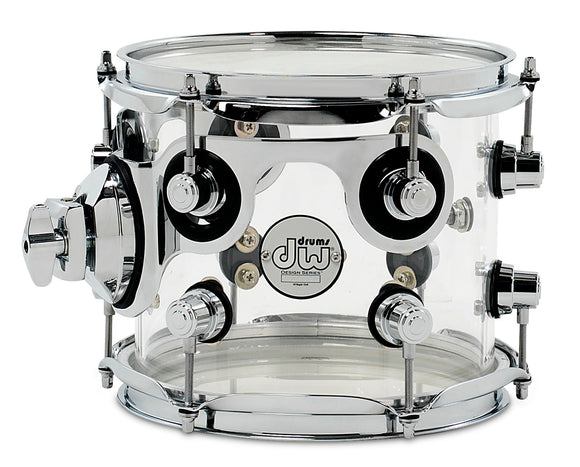 DW Design Series Acrylic Suspended Tom, 7x8, Clear w/Chrome Hardware DDAC0708STCL