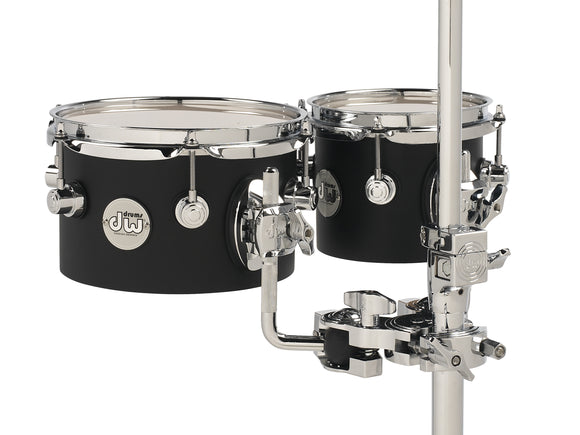 DW Design Series Concert Toms, 5x6/5x8, Black Satin Lacquer w/Chrome Hardware DDCT01BLCR