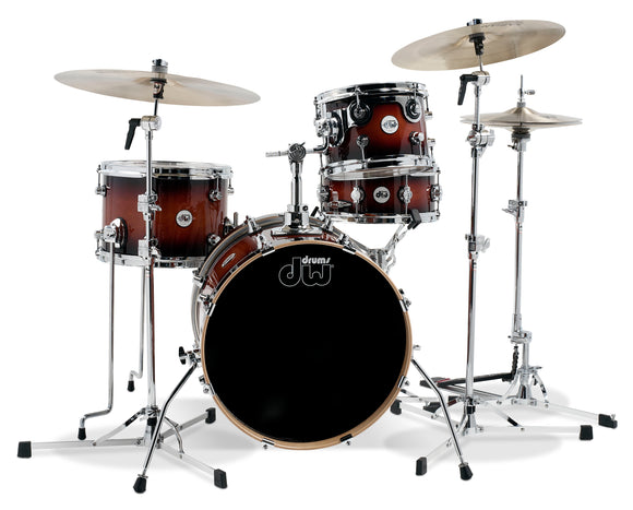 DW Design Series Mini Pro 4-Piece Maple Shell Pack, Tobacco Burst Gloss Lacquer w/Chrome Hardware; 6.5x10 Suspended Tom, 9x13 Floor Tom, 14x18 Bass Drum