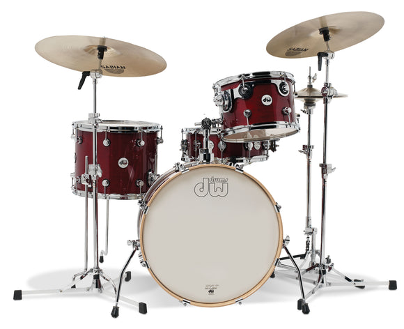 DW Design Series Frequent Flyer 4-Piece Maple Shell Pack, Cherry Stain Gloss Lacquer w/Chrome Hardware; 8x12, 11x14, 12x20, 5x14