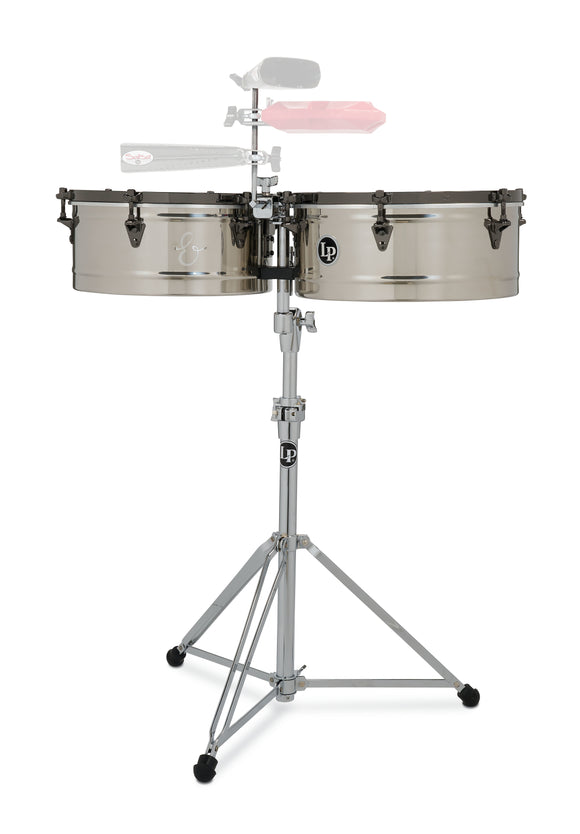 LP E-Class 14 inch & 15 inch Stainless Steel Top-Tuning Timbales with Black Nickel Hardware LP1415-EC