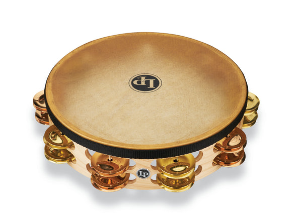 LP Pro 10 Inch Double Row Headed Tambourine - Brass/Bronze Hybrid LP384-BB