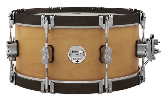 PDP Concept Classic 6.5x14 Natural Stain Snare with Walnut Stain Wood Hoops PDCC6514SSNW